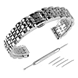 Beauty7 - 20mm Glänzend Silber Edelstahl Uhrenarmband Uhrenarmbänder mit Faltschließe Metall Uhr Armband Zubehör 4 Federstege + Federstift