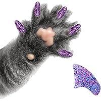 40Unidades Morado holográfico con purpurina con suaves almohadillas de uñas para Cat garras * purrdy Paws marca