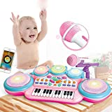 KJRJGQ Beste Wahl Produkte for Kinder 24-Keys Elektronische Tastatur w/Beleuchtung, Mic, MP3 und Teaching-Modus 1-3-6 Jahre alt Rosa
