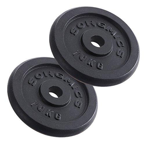 SONGMICS Hantelscheiben Gewichte Set aus Gusseisen 31 mm Bohrung 2 x 10,0 kg SYL03T