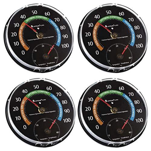 Lantelme 4 Stück Temperatur Luftfeuchtemesser Kombigerät Set Analog Thermometer Hygrometer Farbe schwarz Luftfeuchte 7048