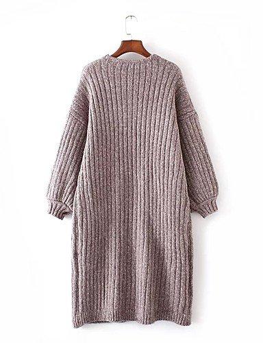 BaiChunYunYi Longue Cardigan Femme Décontracté / Quotidien Sortie simple,Couleur Pleine Col en V Manches Longues Coton Printemps Automne Moyen Fin Brown