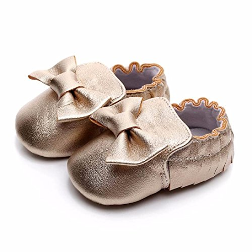 cinnamou Kleinkind Newborn Weiche Sohle Rutschfeste Wohnungen Schuhe Bowknot Quasten Prewalker für Baby Mädchen Jungen 0-6 Monat 6-12 Monat 12-18 Monat (Gold, 6-12M) 6m Schuhe