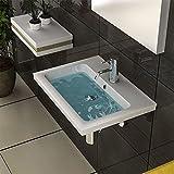 Weiss Waschtisch mit Überlauf Keramik Waschbecken 60 cm Breite Handwaschbecken