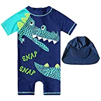 7-Mi Kids One Piece Rash Guard Shirts Boys Girls 3D Alligator Design Short Sleeve Sunsuit Swimsuits UPF 50+ Sun Protection Bathing Suit Surf Swimming Suits 3T, Alligator, 1-2 years(30-34in)