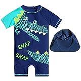 HIMI Jungen Badeanzug, UV-Rashguard, langärmlig, Ganzkörper-Bademode - Sonnenschutz - 3D-Design Kleinkind Kinder Baby Mädchen Badeanzug XX-Small himmelblau