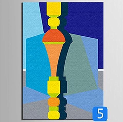 GL&G Peintures en toile - Abstrait Art mural - Peinture abstraite - Décor à la maison Prêt à accrocher 100% Inkjet peint en peinture - Série d'éléments architecturaux en couleur,5,18*25CM