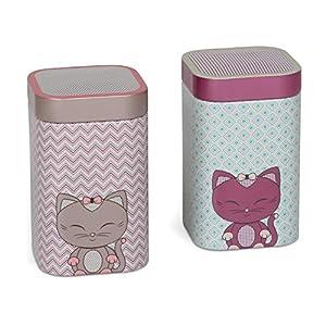 Lot de 2boîtes de thé Miss miew Sandy + Pinky 7x 7cm h. 10,9cm pour 100g nature