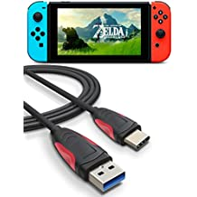 Charger Cable for Nintendo Switch, Higoo 2M [6.6FT] Reversible USB C Cable to USB 3.0 Charge & Sync Data Cable Antislip Type C Charging Cable for Switch Huawei Mate 9 P9 P10 Plus Honor 8 8s V8 V9 Black Red