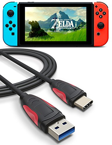 Price comparison product image Charger Cable for Nintendo Switch, Higoo 2M [6.6FT] Reversible USB C Cable to USB 3.0 Charge & Sync Data Cable Antislip Type C Charging Cable for Switch Huawei Mate 9 P9 P10 Plus Honor 8 8s V8 V9 Black Red