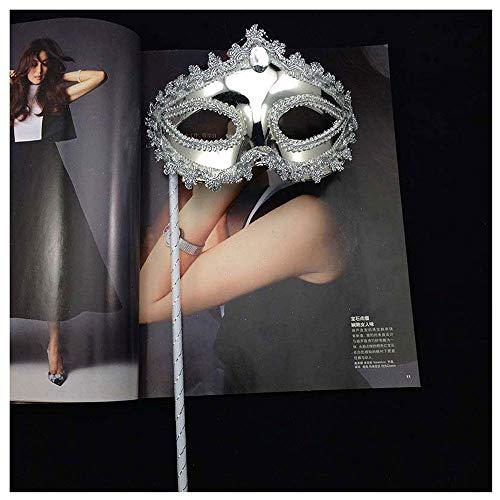 Platinum Prinzessin Mit Stock Handheld Maske Erwachsene Maskerade Dame Maske Venezianische Maske (Color : Silver) ()