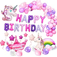 MMTX Unicorn Party Decorations Happy Birthday Balloons for Girl with Birthday Banner Huge Foil Unicorn Ice Cream Rainbow Balloons,Birthday Decorations Supplies for Girls Baby Teens 1st 2nd 3rd ...