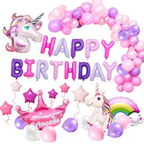 MMTX 62 Stück Einhorn Party Dekorationen Supplies Mädchen, mit 2 Stück Einhorn Ballon, Alles Gute zum Geburtstag Ballon Banner Decko für Kleinkinder Mädchen Boy Lady Birthday Party, Hochzeit (Geburtstag Zum Ballons)