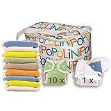 Popolini Rainbow - Set di pannolini lavabili in 100% cotone organico, taglia unica (3-15 kg), con rotolo in Vlies da 100 fogli