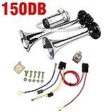 Ξ AO Star 150 DB Lufthorn, 12V/24V Chrome Zink Dual Trumpet Air Horn Mit Kompressor Für Alle Fahrzeuge LKW,24V