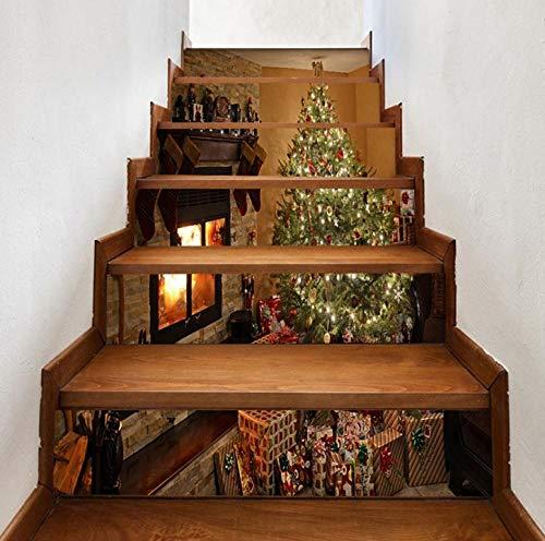 Pegatinas de escaleras a prueba de agua chimenea Árbol de Navidad escaleras de casa pegatinas de pared...
