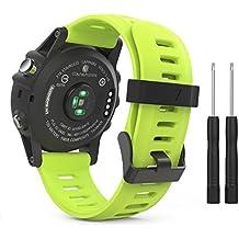 MoKo Garmin Fenix 3 Accesorios, Banda Reemplazo de Silicona Suave Deportiva con Herramientas para Garmin Fenix 3 / Fenix 3 HR Smart Watch - Verde Fluorescente