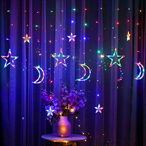 HEITIGN LED Lichterketten,3,5m Sterne Mond LED Vorhang Lichter 8 Modi String Lichtwechsel Licht Blinklicht Foto Wandleuchte für Girlande Hochzeit Dekorative Lampe Weihnachten Fenster Vorhang,Bunt