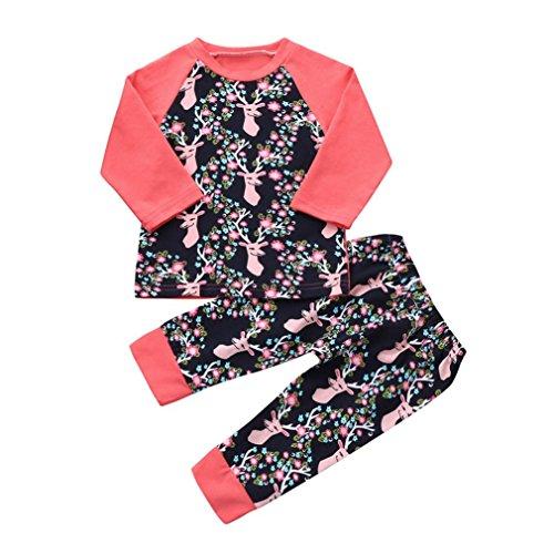 Hffan 2Stk Kleinkind Neugeborene Baby Mädchen Mode Hirsch Blumenmuster Rundhals Patchwork Tops HosenOutfit Set Kleider Unisex Baby jacke Sets (0-24 Monate) (24 Monate)