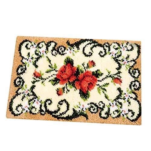 chiwanji Formteppich Knüpfteppich Knüpfset Knüpfpackung zum Selber Knüpfen Teppich für Kinder, Erwachsene oder Anfänger, Latch Hook Kits 50x36cm - Blumen