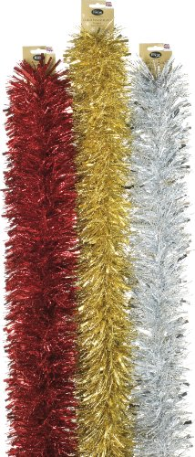 Festive Premium Dot Folien Girlande in Gold 2 m x 150 mm, Silber und Rot Frosted Dots