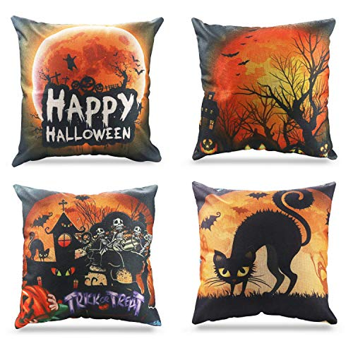 (Kissenbezug Happy Halloween Dekorationen Schwarz Katze/kürbis Thema Sofa Home Decor Dekokissen 45 X 45 CM Fall Kissenbezüge Set von 4)