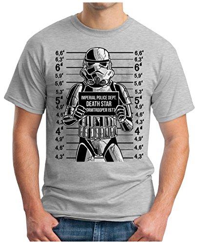 OM3 - WANTED-TROOPER - T-Shirt GEEK, S - 5XL Grau Meliert
