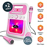 Oakcastle Party Karaoke Machine, CD/CD-R/CD-RW/CDG, Bluetooth connection, USB and AUX-port for MP3, Connect RCA to TV, includes 2 Microphones and RCA cable (Pink)