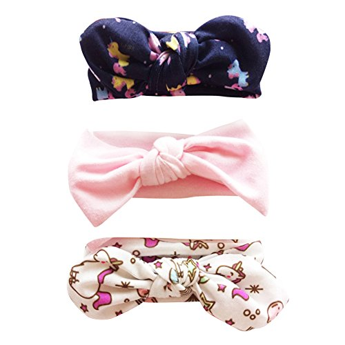 COUXILY 3 Stück Baby Mädchen Stirnband Blumen Baumwolle Haarband mit Bogen für 0-24 Monaten (D10)