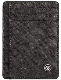 POWR - Cartera para hombre, fina, con bloqueo RFID, soporte minimalista para tarjetas de crédito, capacidad para hasta 7 tarjetas y billetes, ideal para viajes