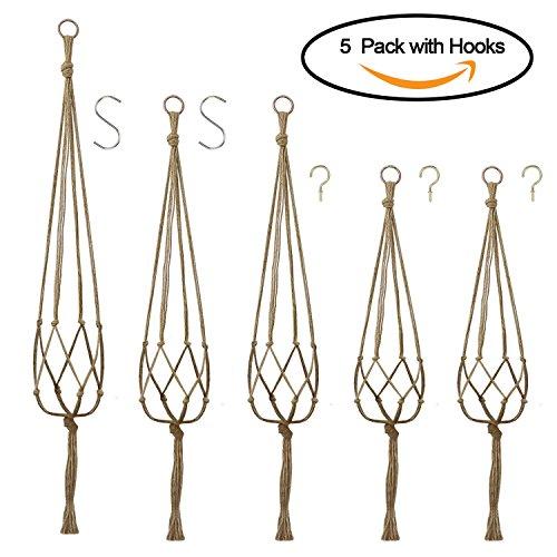 Kissdate - confezione da 5 portavasi da appendere in corda di iuta, a 4 bracci, per vasi di fiori e piante, decorazioni per interni ed esterni,1pezzo da 120cm, 2pezzi da 105cm, 2pezzi da 90cm