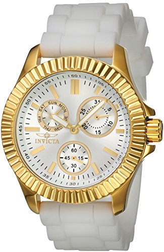 Invicta Women's 'Angel' Quartz Stainless Steel and Silicone Casual Watch, Color:White (Model: 22102)