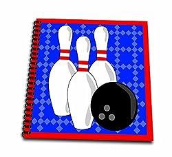 3dRose Blue & Red - bowling Pins & Ball - Mini Notepad, 4 by 4-Inch (db_43149_3)