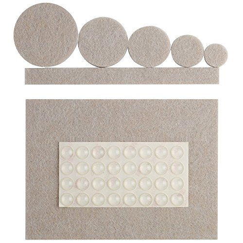 132 Pieces Anpro Premium Furniture Pads, 100 Heavy Duty Self Stick Felt Pads For Hardwood Floor Protection Chair Glides with 32 Non Slip Noise Dampening Bumper Buffer Pads Rubber
