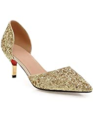 LDMB Bellas puntas de las mujeres con zapatos de tacón alto de la corte zapatos huecos de boda de banquillos de lentejuelas , gold , 43