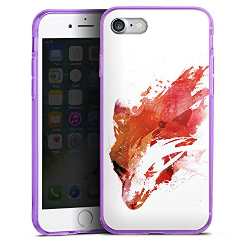 Apple iPhone 7 Silikon Hülle Case Schutzhülle Fuchs Street Art Wasserfarbe Silikon Colour Case lila
