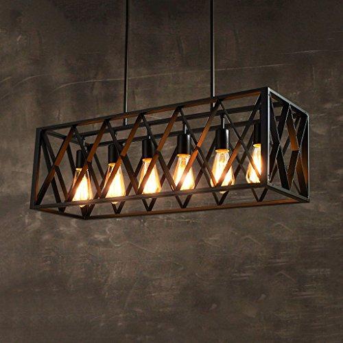 Vintage industriel vent métal lustre noir, restaurant salon bar Plafonnier, style américain style rétro Pendentif Lightr, 6 lumières WSHceilinglamp