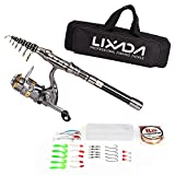 Lixada Canne à Pêche Télescopique et Reel Kit Complet Combo Spinning Reel Fishing Engrenage Organizer Pole Set
