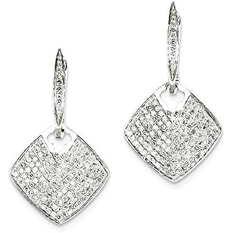 Icecarats Designer Di Gioielli In Oro Bianco 14K Diamante Ciondola Piazza Incernierato Orecchini A Cerchio