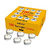 ARVO Tealight Candles White, Unscented, 3-4 Hour Burn Time Wax Candles Pack of 100