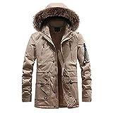 Kanpola Herren Winterjacke Winter Jacke Outdoor Warme Parka Kunstfell Kapuze Gefüttert Teddyfell Jacken Mantel mit Reißverschluss Taschen