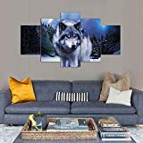 Bild Auf Leinwand Wachsamer Wolf Eyes In The Wild Pinnwand 5 Teilig Wanddekoration Wand Bilder Canvas Korkwand Die Bilder/Das Wandbild/Der Kunstdruck Ist Fertig Gerahmt,Woodenframed+D,150X80cm