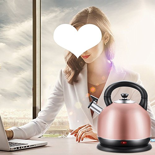 BCQ Stainless Steel Electric Kettle Home Use Automatic Power off Rapid Boiling Large Capacity Double Insulation Anti-Scald Kettle3 Liters Rose Gold (Size:26*22Cm) Electric Kettles