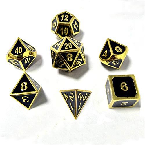 Sunnay 7 Stück Metall Würfel DND Polyhedral Solid Metall D&D Würfel Nickel Set mit Zahlen,Einsteigerset A3 Stil - 7 Stück Metall