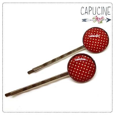2 pinces rouge à pois bronze et cabochons verre - pinces cheveux papier rouge à pois - Barrettes cheveux illustrées - Papier à pois Rouge