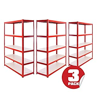 Garage Shelving Units: 180cm x 120cm x 45cm | Super Heavy Duty Racking Shelves for Storage - 3 Bay, Red 5 Extra Wide Tier (265KG Per Shelf), 1325KG Capacity | For Workshop, Shed, Office | 5 Year Warranty