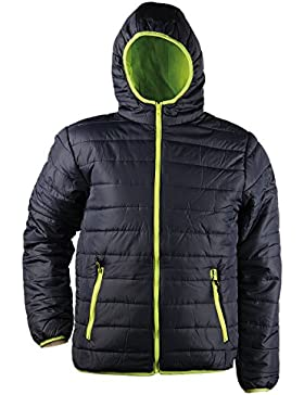 Speedy® - Chaqueta acolchada para hombre - Con capucha y cremalleras en contraste