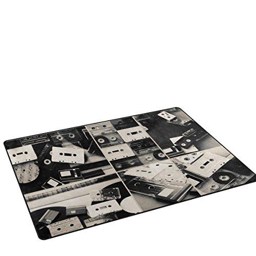 coosun negro y blanco Retro cintas de Audio de discos de vinilo de área alfombra alfombra alfombra de suelo antideslizante Doormats para salón o dormitorio, tela, multicolor, 60 x 39 inch