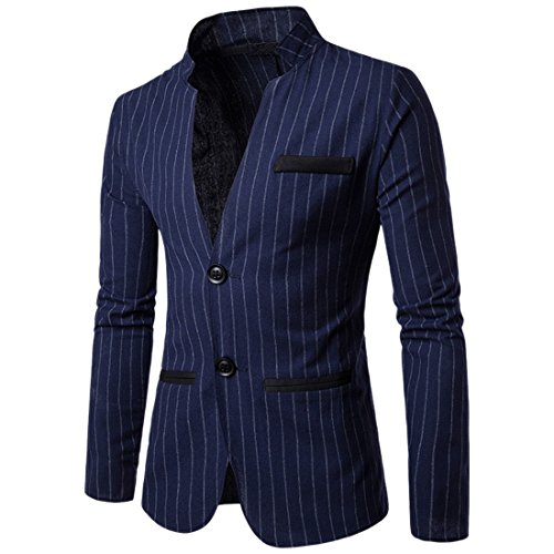 Herren Vertikal Streifen Business Anzug Nadelstreifen Slim Fit Hochzeit Business Blazer Jacke Trendy Anzug Mantel (Anzug Nadelstreifen Mantel)