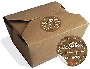 12 braune Bioboxen für Gebäck, Kekse und Cupcakes, Deko Geschenkboxen mit 24 witzigen, matten Papieraufklebern: Ein Plätzchen ist immer gut für die Seele!